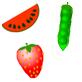 Imagen de una fresa, una sandia y unos guisantes