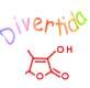 Imagen de una formula de quimica orgánica y la palabra divertida