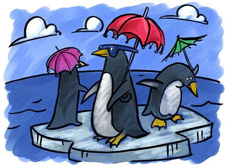 Pingüinos protegiéndose del sol con paraguas